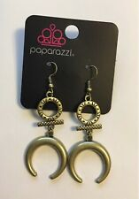 VINTAGE Majestically Moon Child Brass Egyptian Style Earrings  NEW
