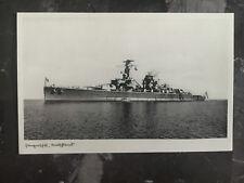 Mint WW2 RPPC Postcard Germany Kriegsmarine Navy Battleship Deutschland