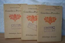 ALFRED DE MUSSET COMEDIES ET PROVERBES 3 VOLUMES éd. LAROUSSE 1929 /37