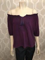 French Laundry Soft Knit Peasant Style Top Blouse M Multi Purple Tie Neck Euc