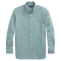 Ralph Lauren Mens Shirt Gingham 100% Cotton Stretch Green Check S L XXL Classic