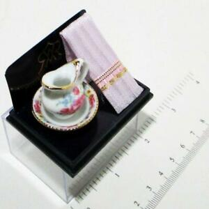 Dollhouse Dresden Rose Wash Bowl w/ Pitcher & PINK Damask Towel Reutter Miniatur