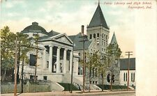 c1905 Public Library and High School, Logansport, Indiana Postcard