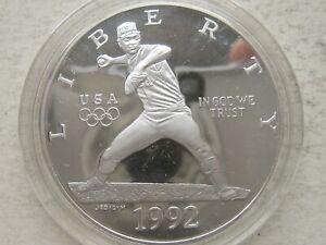 1992-S US Olympic Baseball Commemorative Proof Silver Dollar