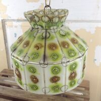 "VTG Fused Art Glass MCM Retro Artisan Hanging Ceiling Light Fixture/Lamp 10""x8"""
