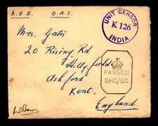 1943 British Indian Forces Cover Bombay to Uk - L5489