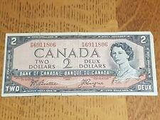 ➡➡UNGRADED 1954 BC-38a Nice Bank of Canada $2 P/B6911806 Circ No Devil
