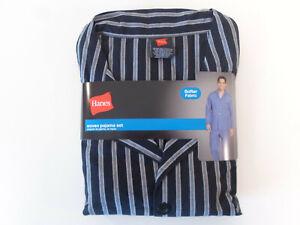NWT Mens Hanes Woven Pajama Set Stretch Elastic Waist Grey Stripe Small or 2XL