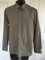 DRIZABONE Mens Brown Plaid Cotton Shirt Long Sleeve SIZE L Hardware Style