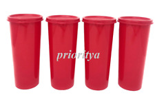 Tupperware 16oz Straight Tumbler Red with Flat Seal Set of 4 New