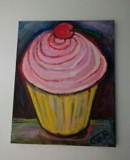 Cup Cake painting cookies world original oil painting desert painting pink frost