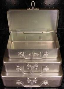 3pc ALUMINUM TOOL and STORAGE BOXES with HASP and HINGE Brand New Box 3 Sizes