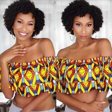 GRASS FIELDS AFRICAN ANKARA WAX PRINT FABRIC NKEKE RUFFLE CROP TOP BLOUSE 10 12