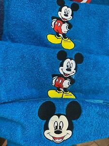 3 Piece MICKEY MOUSE Towel Set FREE PERSONALIZATION on Bath and Hand Towels