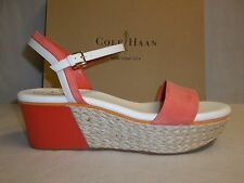 Cole Haan Size 10 M ARDEN WEDGE Orange Pop Leather Sandals New Womens Shoes