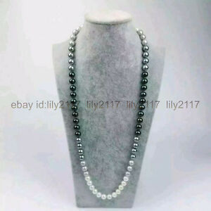 38inch AAA 10-11mm natural Australian south seas black white gray pearl necklace