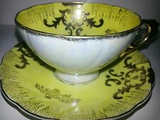 Vintage Pearl Luster Porcelain China Yellow Gold Fancy Dainty Cup & Saucer