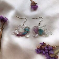 Resina de Flores hechas a mano Ángel Querubín pendientes Nueva