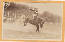 Real Photo Postcard RPPC - Rodeo Cowgirl Mabel Strickland on Stranger Doubleday