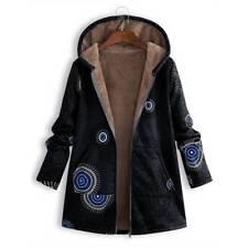 UK Womens Floral Hooded Fleece Fur Lined Coat Ladies Warm Jacket Plus Size 8-24
