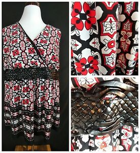 Venezia Women's Sleeveless Blouse Red & Black Top Sz 18/20 Leather Accent