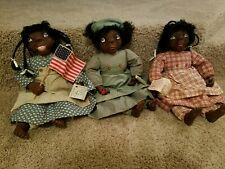 "3 Vintage Pat Kolesar signed  African American Dolls ""Soul Kids"""