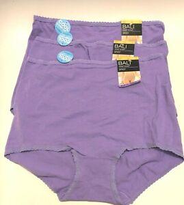 NWT 3 Bali Skimp Skamp Brief Panties Cool Cotton Comfort 2332 Purple Size 7/L