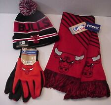 Chicago Bulls NBA Logo Apparel Set Windy City Bullseye Scarf Cap Gloves (WCBE)
