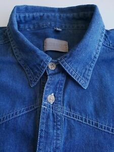 Vintage 1990s Long Sleeve Dark Blue Denim Shirt *2XL* TK04
