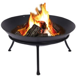 Large Cast Iron Fire Bowl Traditional Log Fire Pit Outdoor Heating Camping BBQ