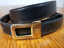 Gucci Vintage Gold GG Belt Buckle Black Leather Belt 28 inches 70 cm Waist Thin