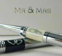 Mr & Mrs Pens Set Double Hearts Wedding Day Anniversary Engagement Gift Box Pen