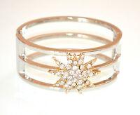 BRACCIALE ARGENTO STELLA ORO rigido donna cristalli elegante bracelet E165