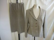 Ladies Skirt Suit Alex & Co. UK 16 fawn textured polyester/viscose, lined 8223