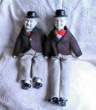COLLECTIBLE VINTAGE LAUREL AND HARDY PORCELAIN HEADED RAG DOLLS