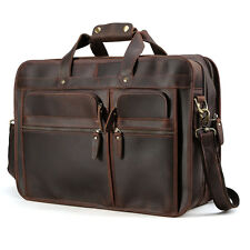 "Men's Leather Luggage 17.3"" Laptop Bag Messenger Shoulder Bag Travel Briefcase"