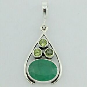 Genuine Natural Green Oval EMERALD and Peridot Pendant - 925 STERLING SILVER #22