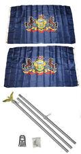 3x5 State of Pennsylvania 2ply Flag Aluminum Pole Kit Set 3'x5'