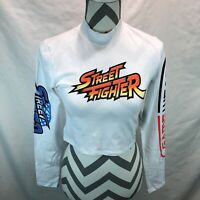 Forever 21 Capcom Street Fighter Crop Top Long Sleeve Shirt White Small UUU20