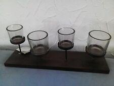 Teelicht Set auf braunen Tablett mit 4 tlg. Glaseinsatz