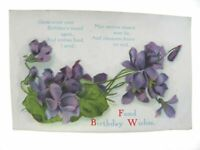 Antique printed postcard Birthday Card Fond Birthday Wishes purple flowers