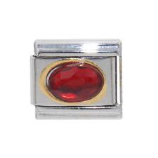 Red oval stone gold rim 9mm charm - fits 9mm classic Italian charm bracelets