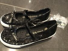 Juicy Couture New Black Sequin & Leather Shoes Girls Size 12 (EU 31 US 13)