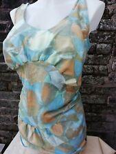 Vtg 40's 50's Jantzen Blue Beige Metal Zippered Bullet Bra Skirt Swimsuit 16/18