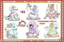 SUNBONNET GIRLS LADIES & PUP Embroidery transfer pattern 183 Doing Chores