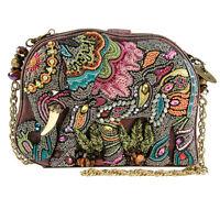 MARY FRANCES Elephant Dance brown beaded Bag Handbag Purse Beaded NEW