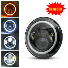 7inch Round H4 LED Headlight with Turn Signal DRL For Jeep Wrangler Hummer Motor