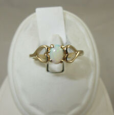 10K Yellow Gold Ring 1=6x4mm Opal Heart Design on Each Side