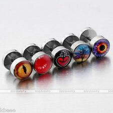 10pc Snake Eye Lip Heart Steel Barbell Fake Cheater Stretcher Ear Plug Earrings