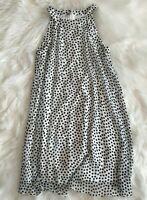 Betsey Johnson Women's Black White Polka Dot Lined Sleeveless Dress Size 2